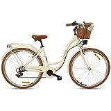 Goetze Mood - Bicicleta de ciudad retro vintage holandesa para mujer, ruedas de aluminio de 28 pulgadas, cambio Shimano Tourney de 7 velocidades, subida profunda, cesta con acolchado