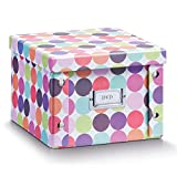 Zeller 17891 Caja de almacenaje de cartón Multicolor (Dots) 21.5 x 20.5 x 15 cm