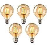 Bombilla vintage, iluminación de filamento antigua, bombilla de filamento antigua, bombilla LED de color blanco cálido, bombilla vintage LED, lámpara retro [5 unidades]