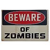 MARQUISE & LOREAN | Chapas Decorativas Metálicas Para Pared Beware Of Zombies | Incluye Papel Burbuja Súper Protección y Cuerda Para Colgar | Carteles Decoración Vintage | 20 x 30 cm