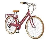 BIKESTAR Bicicleta de Paseo Aluminio Rueda de 26' Pulgadas   Bici de Cuidad Urbana 7 Velocidades Vintage para Mujeres   Púrpura