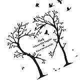 Elenxs Pegatina Negro del Amor del corazón del árbol Birds Pared Familia Palabras Patrón Auto Adhesivo Impermeable Tallado Vinilos Decorativos