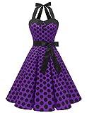 Dressystar Vestidos Corto Cuello Halter Estampado Flores y Lunares Vintage Retro Fiesta 50s 60s Rockabilly Mujer Violeta Negro Lunares XS