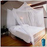 EVEN Naturals MOSQUITERA de cama con dosel, Tienda grande del doble a extragrande 80x71 pulgadas Blanco