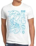 style3 64 bit Gamepad Cianotipo Camiseta para Hombre T-Shirt, Talla:L, Color:Blanco
