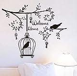 xlei Etiqueta De La Pared Welcom Inicio Sala De Estar Etiqueta De La Pared Decorativa Pájaros En El Árbol De Vinilo Desmontable Llaves Y Jaula De Pájaro Decals59X70Cm