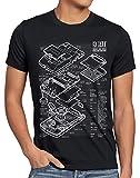 style3 8 bit Videoconsola Portátil Cianotipo Camiseta para Hombre T-Shirt, Talla:L, Color:Negro
