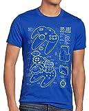 style3 64 bit Gamepad Cianotipo Camiseta para Hombre T-Shirt, Talla:L, Color:Azul