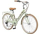 BIKESTAR Bicicleta de Paseo Aluminio Rueda de 26' Pulgadas | Bici de Cuidad Urbana 7 Velocidades Vintage para Mujeres | Menta