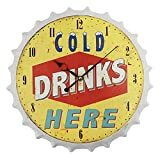 Tapa de Botella Reloj de Pared 3D Cerveza Retro Vino,Diseño Moderno Metal Relojes de Cuarzo Silenciosos Bar Sala de Estar Decoración del Hogar Relojes de Pared Creativos