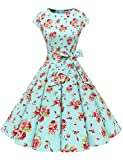 Dressystar Vintage 1950s Polka Dot and Solid Color Prom Dresses Cap-Sleeve S Blue Red Flower