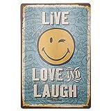 MARQUISE & LOREAN | Chapas Decorativas Metálicas para Pared Live, Love & Laugh | Incluye Papel Burbuja Súper Protección y Cuerda para Colgar | Carteles Decoración Vintage | 20 x 30 cm
