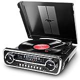 ION Audio Mustang LP - Centro de Música 4-en-1 con Diseño de Radio de Coche Clásico, con Giradiscos, Radio, USB y Entradas Auxiliares, color Negro