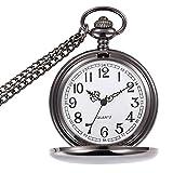 Reloj de bolsillo de cuarzo retro BestFire con cadena corta para hombres y mujeres, con caja de regalo para cumpleaños, día del padre y Navidad, plata