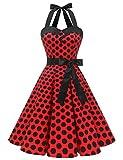 Dressystar Vestidos Corto Cuello Halter Estampado Flores y Lunares Vintage Retro Fiesta 50s 60s Rockabilly Mujer Rojo Negro Lunares XL