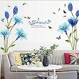 Adhesivo decorativo para pared de lirio azul Chshe, vinilo de decoración para el hogar para salón, dormitorio, televisión y/o pared de fondo.