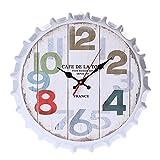 J-Love Reloj Pared Vintage Reloj Pared Interior Tapa Botella Cerveza Estilo Redondo silencioso Decoración Creativa 15 Pulgadas Fácil Leer Sincronización precisa