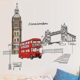 ufengke® Londres Big Ben Torre del Puente Pegatinas de Pared, Sala de Estar Dormitorio Removible Etiquetas de La Pared/Murales
