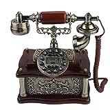 Vbestlife Teléfono Fijo Retro Vintage Clásico de Madera Rotary Dial Antique Landline FSK/DTMF Sistema Dual Identificación de Llamadas para Oficina/Casa
