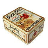 Francia Vintage Caja Decorativa Metal 26x20x12cm Pub Aceite DE Oliva