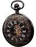 KS ksp004-orologio de Bolsillo Hombre, Acero, Esqueleto clásico analógico Manual mecánico + Cadena, Color Negro