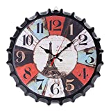 ZHUANYIYI Metal Hierro Creativo Vintage Tapa de Botella de Vino Reloj de Pared silencioso Tendencia Europea y Americana Tapa de Botella de Cerveza Reloj de Pared de Cuarzo silencioso