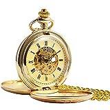 ManChDa® Vintage Champagne Oro Reloj de Bolsillo para los Hombres Mujeres Cazador de Doble Grabado Esqueleto Movimiento mecánico de Oro Números Romanos con Cadena + Caja Regalo
