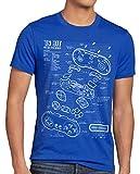 style3 16 bit Gamepad Cianotipo Camiseta para Hombre T-Shirt, Talla:L, Color:Azul
