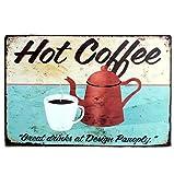 iTemer Tin Sign taza de café (caliente Metal Sign Retro de oficina en casa Bar tienda de café lata Crafts