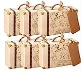 Caja de recuerdo de boda con diseño de una maleta pequeña AmaJOY 50 unidades, caja con cordel de estopa con tarjeta de papel Kraft, caja de dulces para fiestas de cumpleaños, baby showers, decoración de bodas