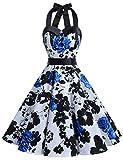 Dressystar Vestidos Corto Cuello Halter Estampado Flores y Lunares Vintage Retro Fiesta 50s 60s Rockabilly Mujer Azul Flor B XS