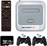 Whatsko Consola Retro Arcade Super Console X Pro,128GB con 41000 Juegos+Mandos de 2 Piezas, 1280x720 FHD Mini Consola de Videojuegos, Wifi Arcade Consola Portatil Multijugador con HDMI/AV/LAN