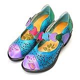 gracosy Merceditas Zapatos para Mujer Bombas de Cuero Anillo de Gancho Tobillo Medio talón Verano Caminando Zapatos de Fiesta de Vestido de Novia Plana Vintage Redonda Zapatos de Sandalias Casuales