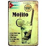 iTemer Retro Style Mojito - Placa de hierro para pared, hogar, oficina, bar, cafetería.