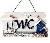 iTemer WC cartel de madera Para colgar placa WC baño inodoro señalización doorplate tallada a mano decorativo señal