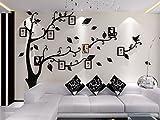 Asvert Vinilos Arbol con Hojas Negro Pegatinas de Pared 1.75 * 2.3 m Murales Pared 3D Decorativo Hogar