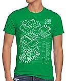 style3 8 bit Videoconsola Portátil Cianotipo Camiseta para Hombre T-Shirt, Talla:L, Color:Verde