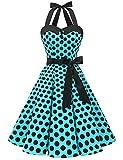 Aupuls AUP1957 Vestido Mujer Sin Manga Retro Vintage 50s 60s Para Ocación Formal y Causal Azul Negro Puntos XS