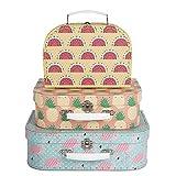 Juego de 3 cajas de almacenamiento para maleta de flamenco, color rosa