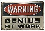 Cartel de metal con texto en inglés 'Warning Genius At Work', 20 x 30 cm, para decoración de pared, ideal para pub, bar, oficina, hogar, dormitorio, comedor, cocina, regalo clásico y elegante