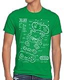 style3 16 bit Gamepad Cianotipo Camiseta para Hombre T-Shirt, Talla:L, Color:Verde