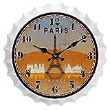 ZHZLX-wall clock Reloj de Pared Decorativo Metal Vintage Reloj de Pared Reloj de Pared de Hierro Forjado - Botella de Cerveza con Tapa Reloj de Pared - Decoración Creativa Salón Cocina
