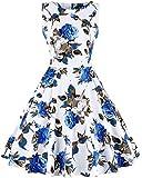 ihot Vintage de la década de 1950 con Clase Rockabilly Retro Floral Estampado de Flores de cóctel de Noche Swing Vestido de Fiesta