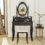 CitySales Vintage/Retro tocador de 4 cajones Espejo Ajustable con Taburete Dormitorio Escritorio de Maquillaje Negro