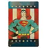 Logoshirt - Muestra del Metal Retro Comic Superman - Placa de Metal DC Comics - Superman - America - Diseño Original con Licencia