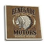 Renegade motores–Vintage Cartel De Madera, cerámica, Multicolor, 4 Coaster Set
