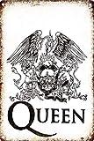 RABEAN Queen Rock Póster de Pared Aluminio Metal Creativo Placa Decorativa Cartel de Chapa Placas Decoración Hogar Estar Oficina Café Bar