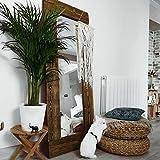 HANNUN Espejo Akake de Madera Maciza Artesanal Fabricado a Mano | Espejo de Madera Rústico y Elegante, Color Nogal, 165x65cm