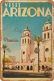 RuFS Arizona Cartel de Chapa Pared Hierro Retro Pintura Placa Chapa Vintage Arte Creatividad Decoración Artesanías para Cafe Bar Garaje Hogar