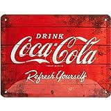 Nostalgic-Art Cartel de Chapa Retro Coca-Cola – Logo Red – Idea de Regalo Aficionados a la Coke, metálico, Diseño Vintage para decoración, 15 x 20 cm